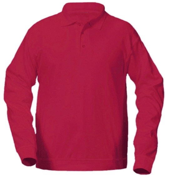 Unisex Interlock Knit Polo Shirt with Banded Bottom - Long Sleeve - Red