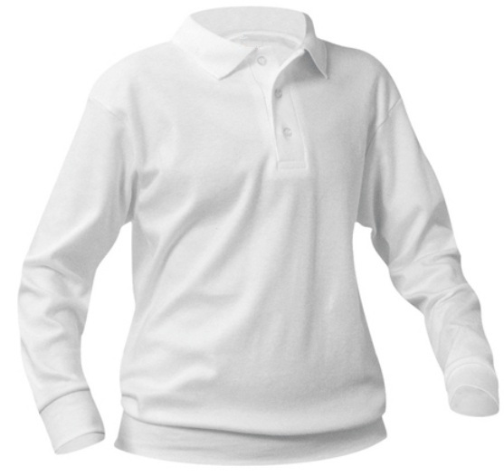 Unisex Interlock Knit Polo Shirt with Banded Bottom - Long Sleeve - White