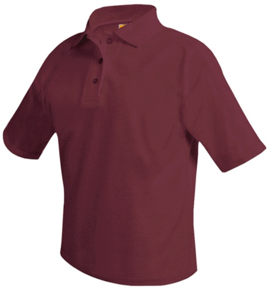 Unisex Mesh Knit Polo Shirt - Short Sleeve - Burgundy