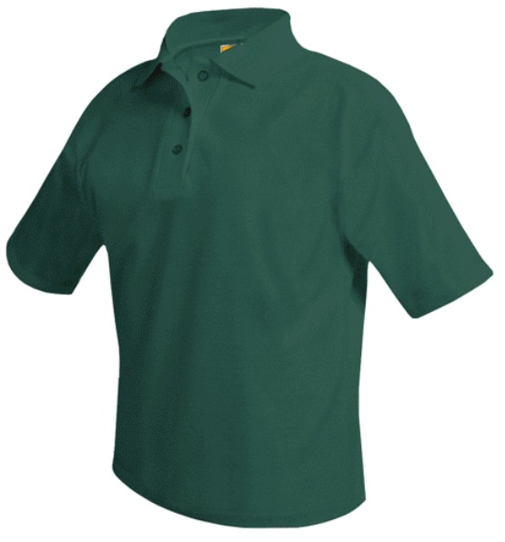 Unisex Mesh Knit Polo Shirt - Short Sleeve - Hunter Green