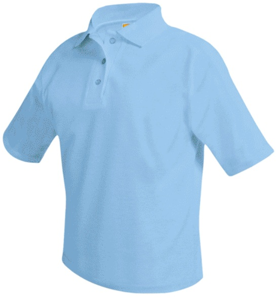 Unisex Mesh Knit Polo Shirt - Short Sleeve - Light Blue