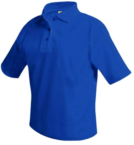 Unisex Mesh Knit Polo Shirt - Short Sleeve - Royal Blue