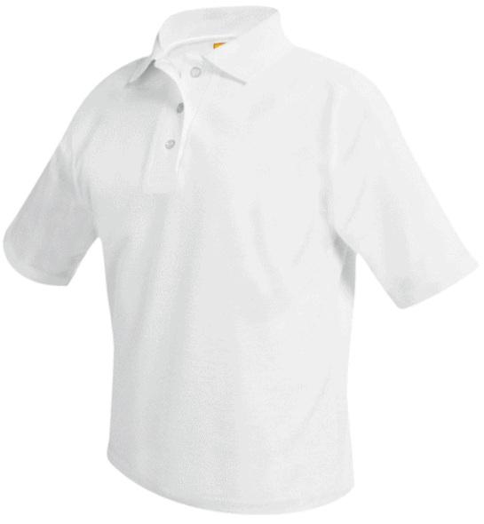 Unisex Mesh Knit Polo Shirt - Short Sleeve - White
