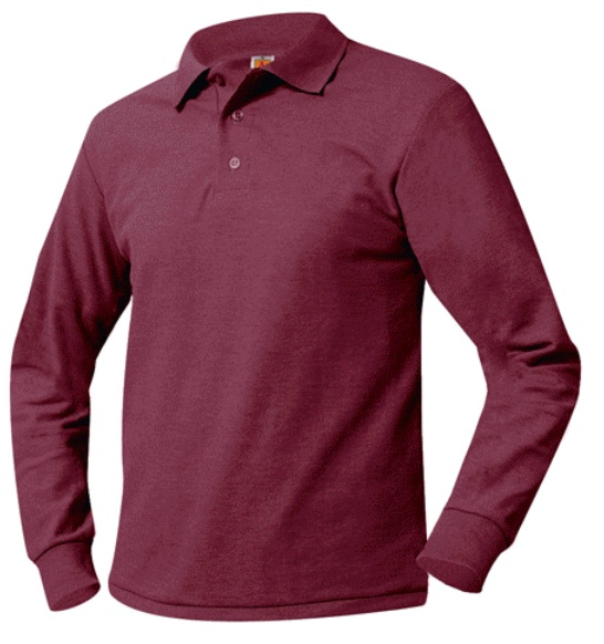 Unisex Mesh Knit Polo Shirt - Long Sleeve - Burgundy