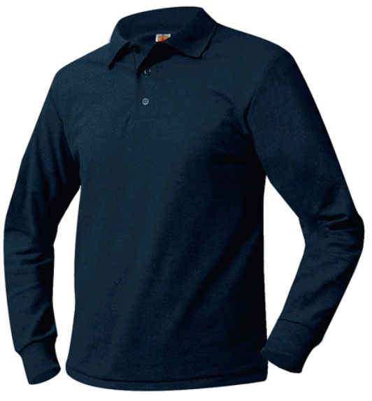 Unisex Mesh Knit Polo Shirt - Long Sleeve - Navy Blue