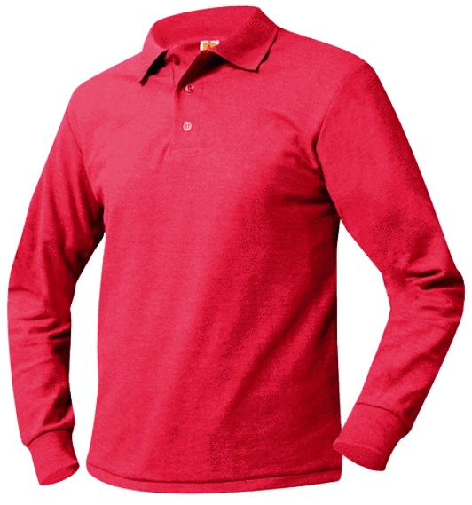 Unisex Mesh Knit Polo Shirt - Long Sleeve - Red