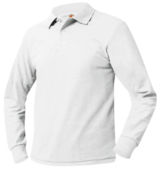 Unisex Mesh Knit Polo Shirt - Long Sleeve - White