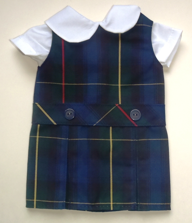 18 Inch Doll Jumper - Drop Waist with Peter Pan Blouse - Plaid #55