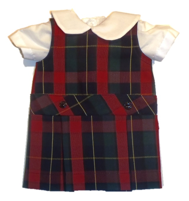 18 Inch Doll Jumper - Drop Waist with Peter Pan Blouse - Plaid #66