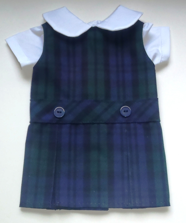 18 Inch Doll Jumper - Drop Waist with Peter Pan Blouse - Plaid #77