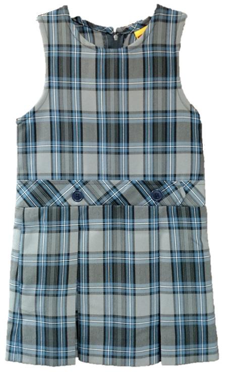 #94 Drop Waist Jumper - Box Pleats - 100% Polyester - Plaid #47