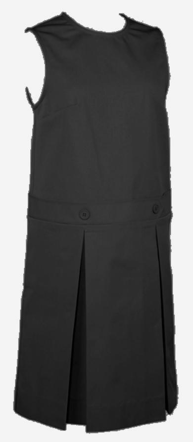 Drop Waist Jumper - Box Pleats - Poly/Cotton - Black