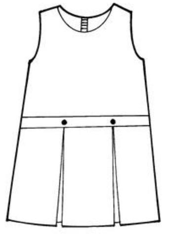 Drop Waist Jumper - Box Pleats - 100% Polyester - Plaid #90