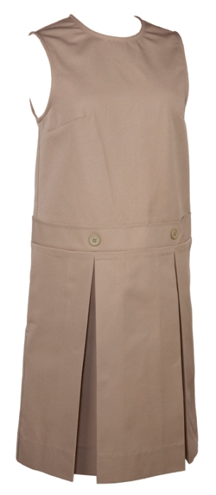 Drop Waist Jumper - Box Pleats - Poly/Cotton - Khaki