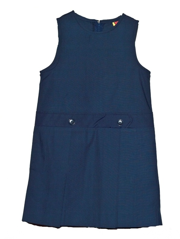 Drop Waist Jumper - Box Pleats - Poly/Cotton - Navy Blue