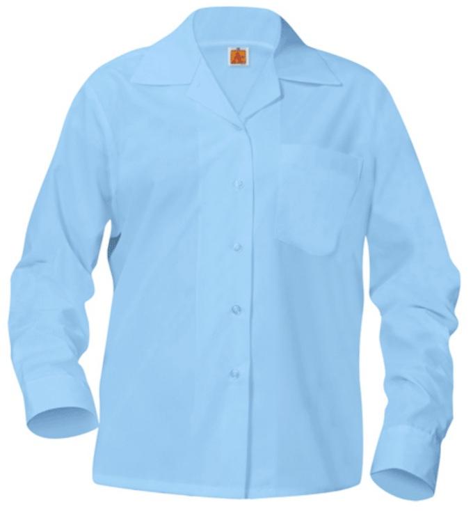 Girls Classic Collar Blouse - Long Sleeve - Light Blue