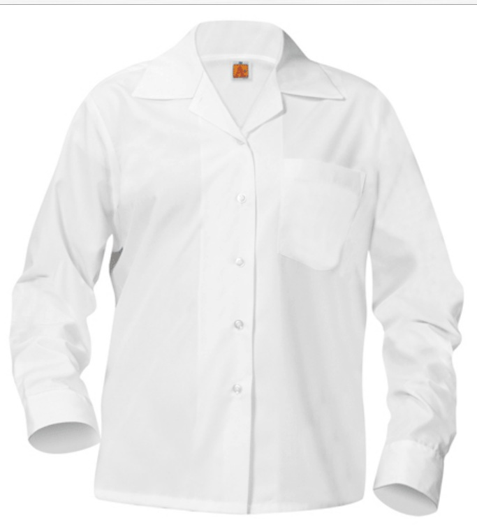 Girls Classic Collar Blouse - Long Sleeve - White