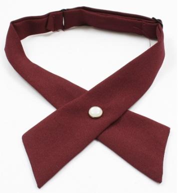 Girls Crossover Neck Tie - Burgundy