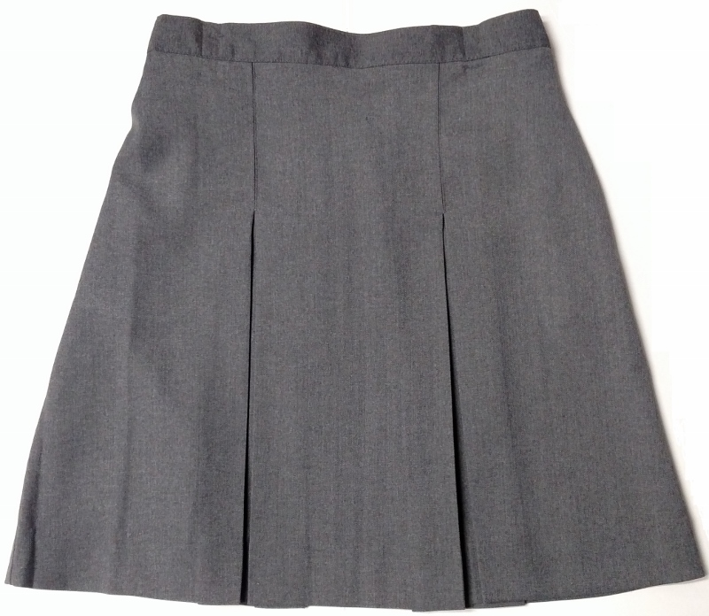 #349/339 Box Pleat Skirt - Polyester/Wool - Grey