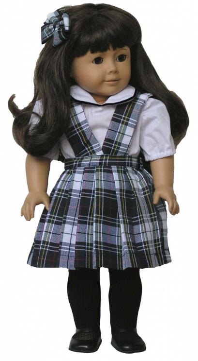 18 Inch Doll Jumper - Split Front with Peter Pan Blouse - Plaid #80