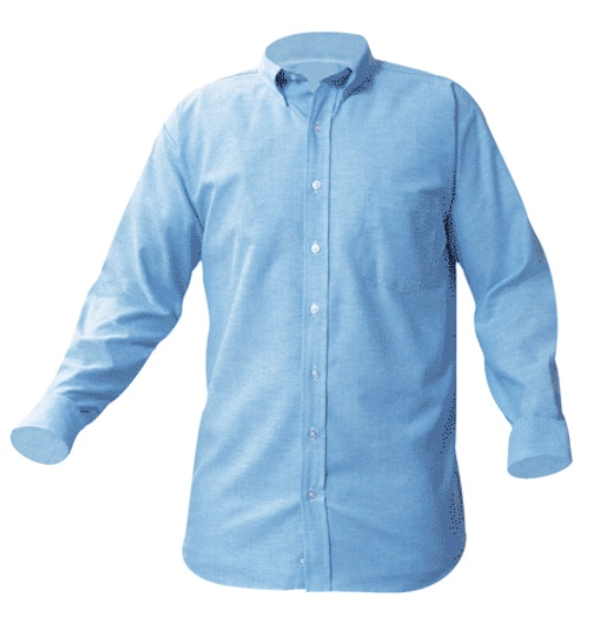 Girls Oxford Dress Shirt - Long Sleeve - Light Blue