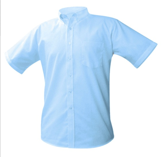 Boys Oxford Dress Shirt - Short Sleeve - Light Blue