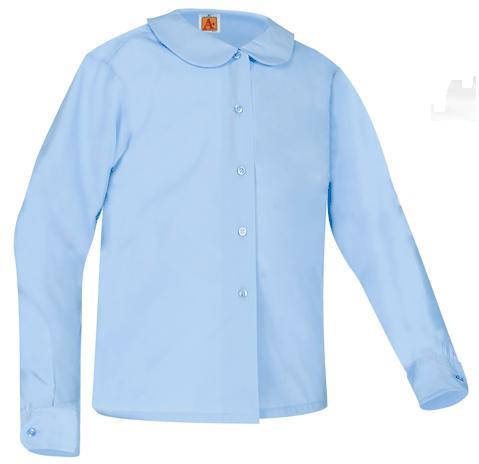 Girls Peter Pan Collar Blouse - Long Sleeve - Light Blue