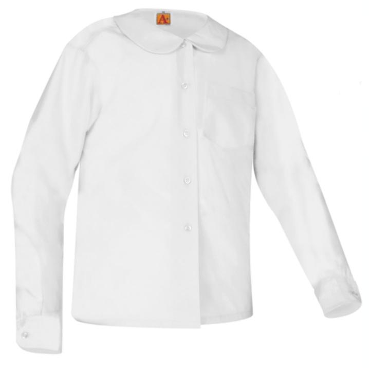 Girls Peter Pan Collar Blouse - Long Sleeve - White
