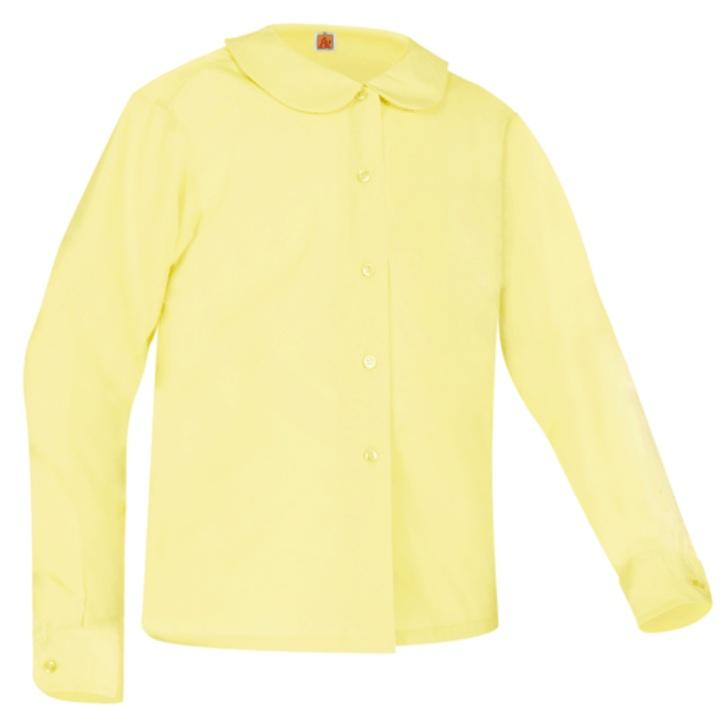 Girls Peter Pan Collar Blouse - Long Sleeve - Yellow