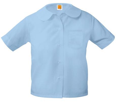 Girls Peter Pan Collar Blouse - Short Sleeve - Light Blue