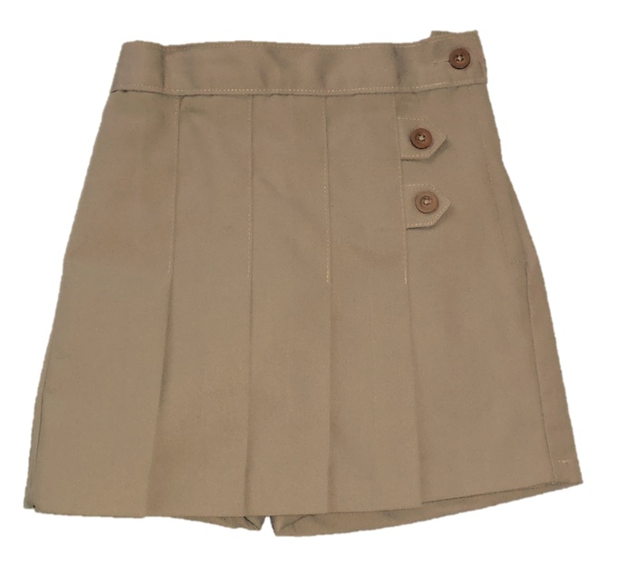 Pleated Tab Skort #2650 - Khaki
