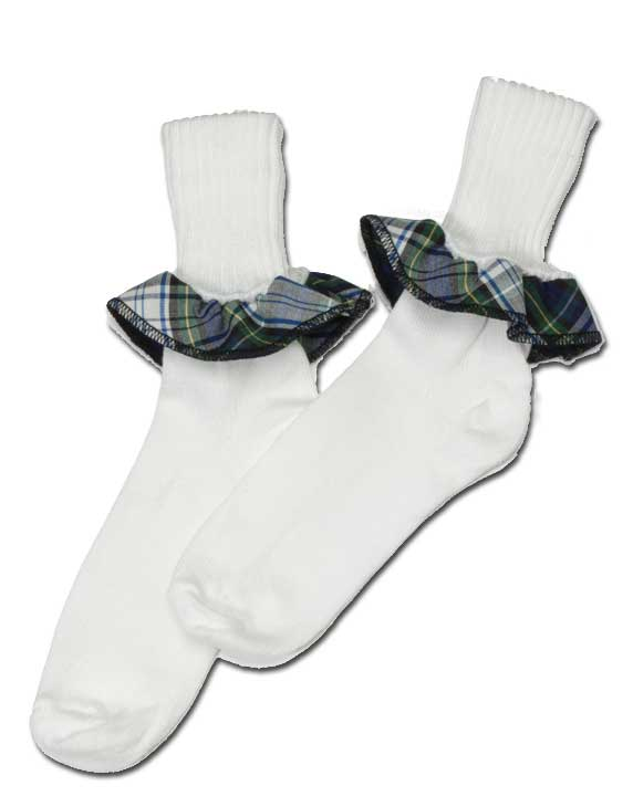 Girls Ruffle Socks - Plaid #42