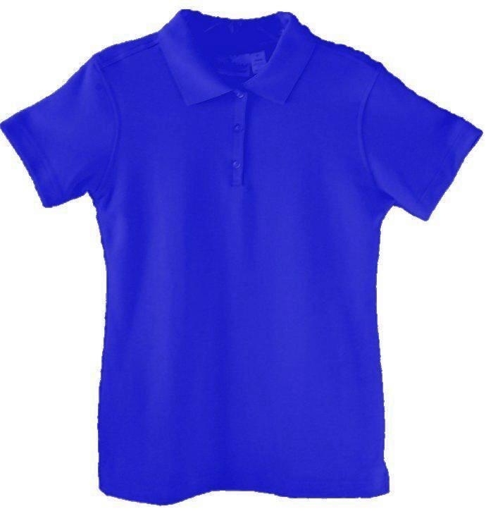 Girls Fitted Interlock Knit Polo Shirt - Short Sleeve - Royal Blue
