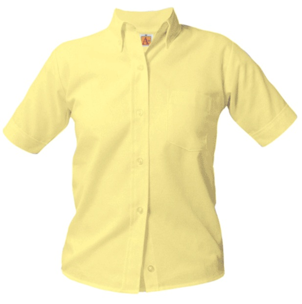 Girls Oxford Dress Shirt - Short Sleeve - Yellow
