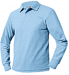 Unisex Mesh Knit Polo Shirt - Long Sleeve - Light Blue