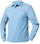 Unisex Mesh Knit Polo Shirt - Long Sleeve - Light Blue