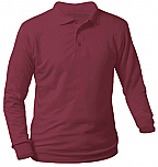 Unisex Interlock Knit Polo Shirt - Long Sleeve - Burgundy