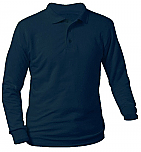 Unisex Interlock Knit Polo Shirt - Long Sleeve - Navy Blue