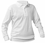 St. Hubert School - Unisex Interlock Knit Polo Shirt with Banded Bottom - Long Sleeve