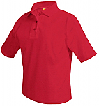 Unisex Mesh Knit Polo Shirt - Short Sleeve - Red