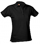 Girls Fitted Mesh Knit Polo Shirt - Short Sleeve - Black