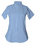 Women's Fitted Oxford Dress Shirt - Short Sleeve - Light Blue