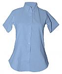 Women's Fitted Oxford Dress Shirt - Short Sleeve - Light Blue