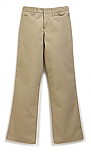 Girls Mid-Rise Flat Front Pants - Flare Leg - Stretch - #4056 - Khaki