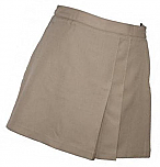 K-12 #2653 Pleated Front and Back Scooter Skort - Khaki