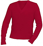 Unisex V-Neck Pullover Sweater - Red