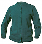 Girls Crewneck Cardigan Sweater - Hunter Green