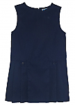 K-12 #2762 Drop Waist Pleated Jumper with Button Tabs - Navy Blue