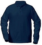 Our Lady of the Lake - Unisex Interlock Knit Polo Shirt with Banded Bottom - Long Sleeve