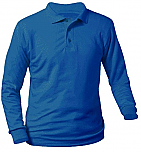 Unisex Interlock Knit Polo Shirt - Long Sleeve - Royal Blue